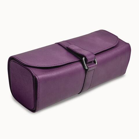 Purple Leather Snap Strap Large Jewelry Roll