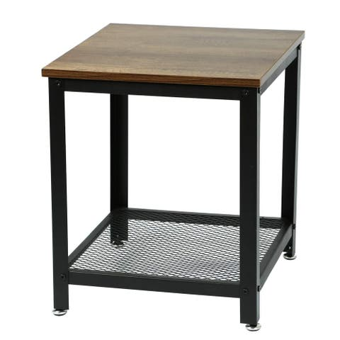 Adeco End Table, Coffee, Wood Table Top, 18 Inches Height