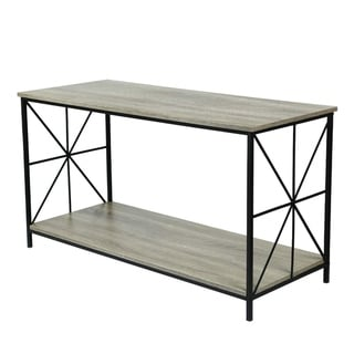 Adeco  Wood Top Shelf with Sturdy Metal Frame, 24 Inches Height
