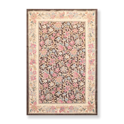Hand Woven Floral French Aubusson Needlepoint Area Rug (4'x6') - 4' x 6'