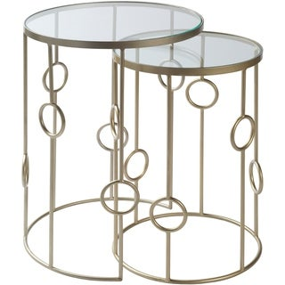 "Andries Glass and Painted Metal Modern Hand Crafted Nesting Table Set (2 Pieces) - 18"" x 18"" x 24.5"",15"" x 15"" x 22"""