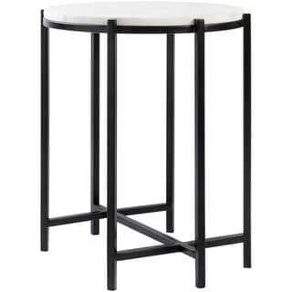 "Liano Marble and Matte Metal Modern Hand Crafted End Table - 16.5"" x 16.5"" x 18.5"""