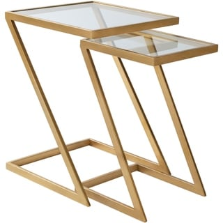 """Einar Glass and Hand Painted Metal Modern Hand Crafted Nesting Table Set (2 Pieces) - 16"""" x 16"""" x 22"""",12"""" x 12"""" x 20"""""""