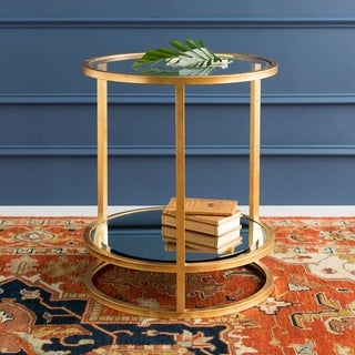 """Link to Sadler Glass and Gilded Metal Updated Traditional Hand Crafted End Table - 20"""" x 20"""" x 24"""" Similar Items in Living Room Furniture"""