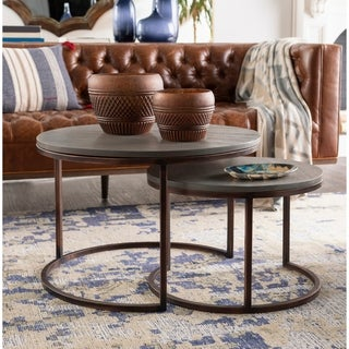 Strick & Bolton Nadine Antiqued Metal/ Wood Nesting Tables