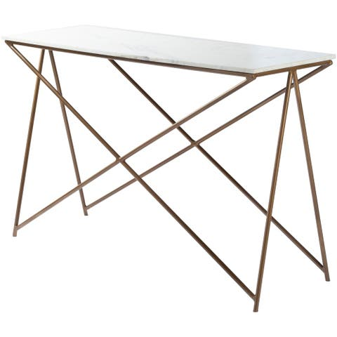 """Ophelia Marble and Natural Metal Modern Hand Crafted Console Table - 47"""" x 16"""" x 30"""""""