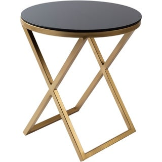 """Lazea Glass and Antiqued Metal Modern Hand Crafted End Table - 18"""" x 18"""" x 20.25"""""""