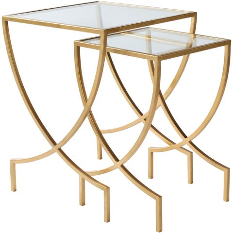 """Diani Glass and Painted Metal Modern Hand Crafted Nesting Table Set (2 Pieces) - 18"""" x 18"""" x 24"""",14"""" x 14"""" x 21.5"""""""