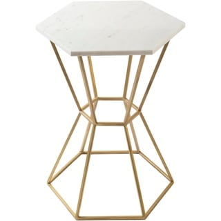 """Preisner Marble and Natural Metal Modern Hand Crafted End Table - 18"""" x 18"""" x 24"""""""