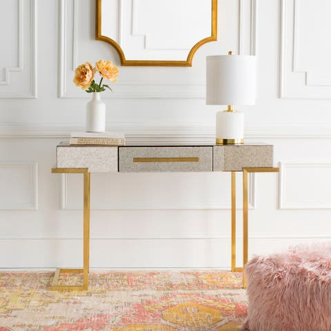 """Ceara Glass and Metal Modern Hand Crafted Console Table - 49"""" x 18"""" x 31"""""""