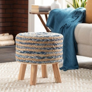 Baeley Hand Crafted Bohemian Jute and Wood Foot Stool