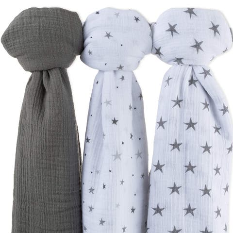 Cotton Muslin Swaddle Blanket 3 Pack-Star Print