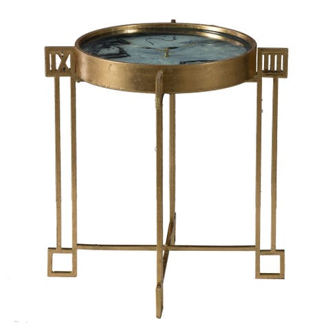 Weathered Gold Roman Numberal Clock Face Side Table