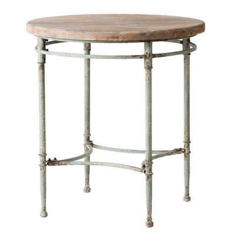 Patina Green 32-inch Round Vintage Accent Table