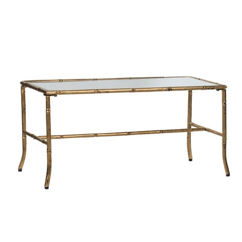 Antique Gold Glossy Top Rectangular Coffee Table by Anthony Venetucci