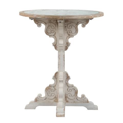 Weathered White 24-inch Wooden Carved Scrollwork Side Table