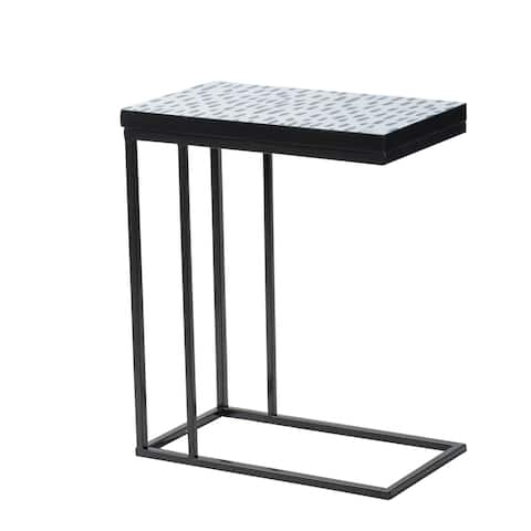 Black and Indigo Speckled C-Side Table