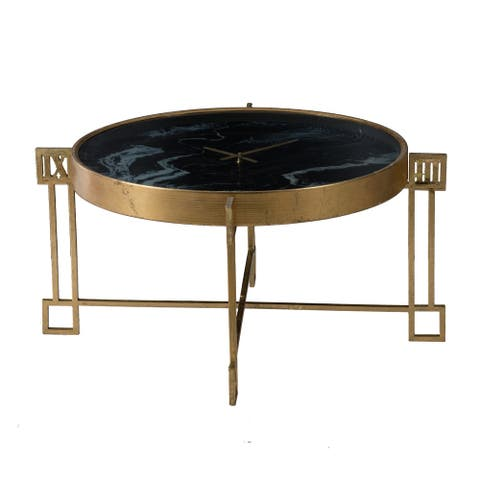 Weathered Gold and Black Marble Clock Face Coffee Table
