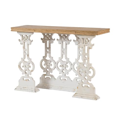 Weathered White Scrollwork Console Table