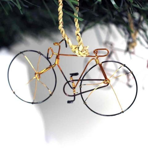 Recycled Handmade Petite Bicycle Tree Ornament, Set of 2