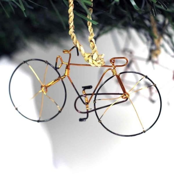 Recycled Handmade Petite Bicycle Tree Ornament, Set of 2. Opens flyout.