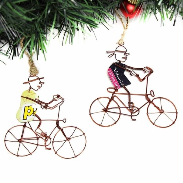Recycled Handmade Bicyclist Ornaments, Set of 2. Opens flyout.