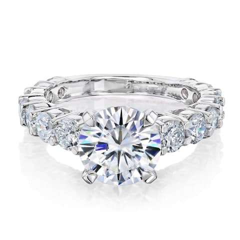 Annello by Kobelli 14k Gold 1.9ct Moissanite and 1-1/3ct Diamond Bar Shared Prong Engagement Ring, 3 1/4ct TCW (FG/VS, GH/I)