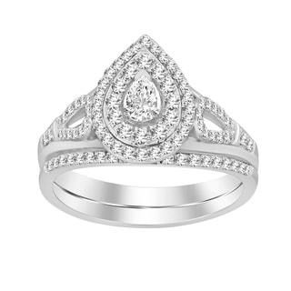 1 2 Cttw Round Pear Natural Diamond Ladies Wedding Bridal Set Ring 14kt White Gold