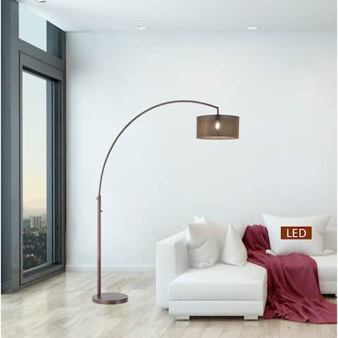 Carson Carrington Ingelsgard Antique Bronze Double Shade LED Arched Floor lamp