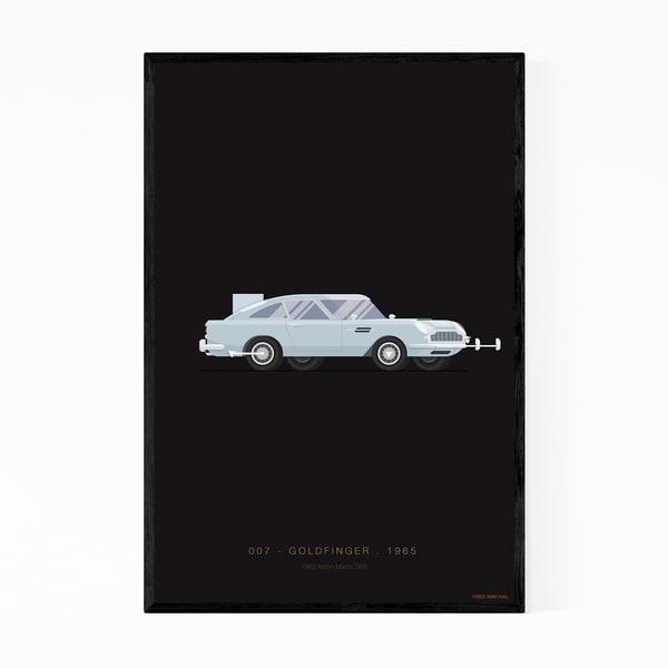 Noir Gallery Aston Martin Goldfinger Illustration Framed Art Print