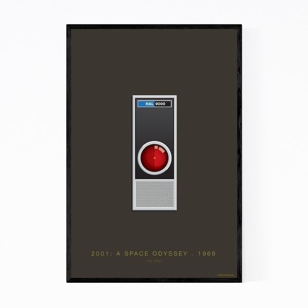 Noir Gallery HAL 9000 Space Odyssey Illustration Framed Art Print