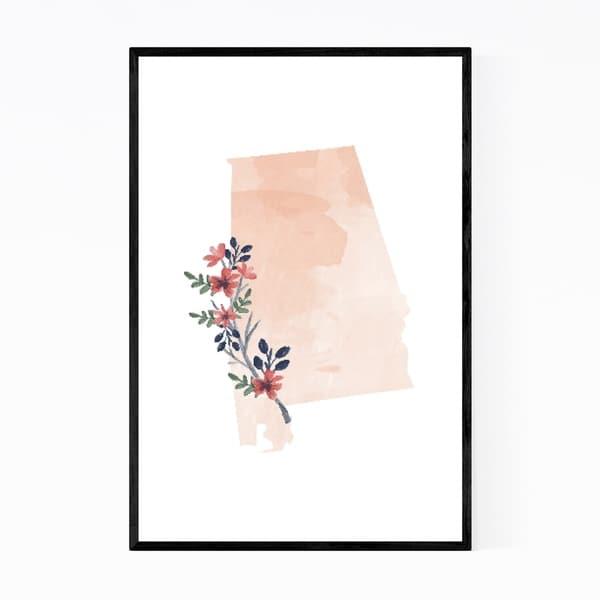 Noir Gallery Alabama Floral State Map Framed Art Print
