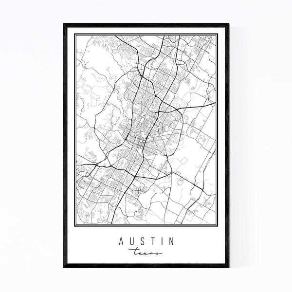 Noir Gallery Austin Texas City Map Framed Art Print