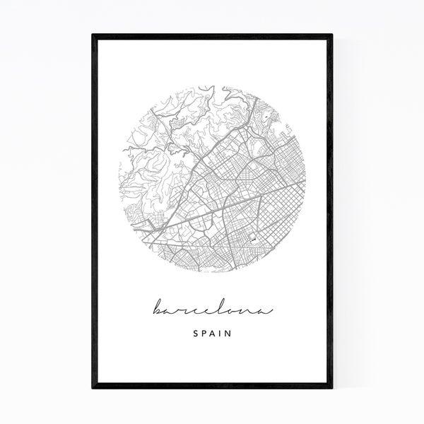 Noir Gallery Barcelona Spain City Map Framed Art Print