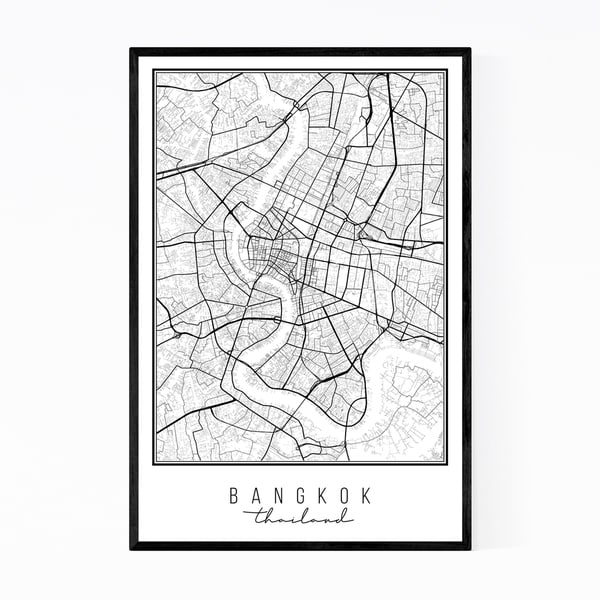 Noir Gallery Bangkok Thailand City Map Framed Art Print