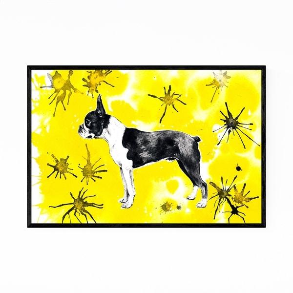 Noir Gallery Animal Boston Terrier Dog Painting Framed Art Print