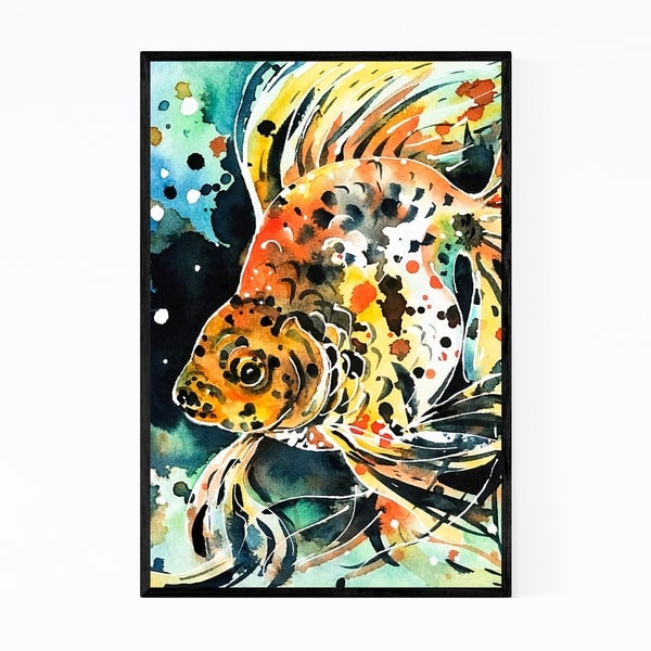 Noir Gallery Animal Calico Cat Cat Fish Goldfish Framed Art Print
