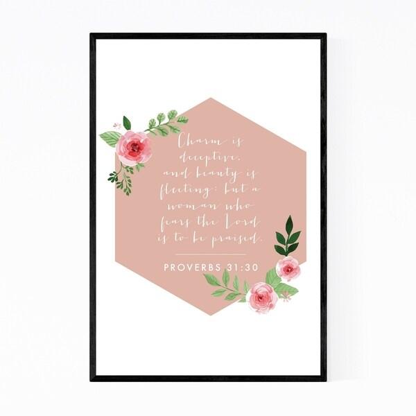 Noir Gallery Proverbs 31:30 Bible Typography Framed Art Print