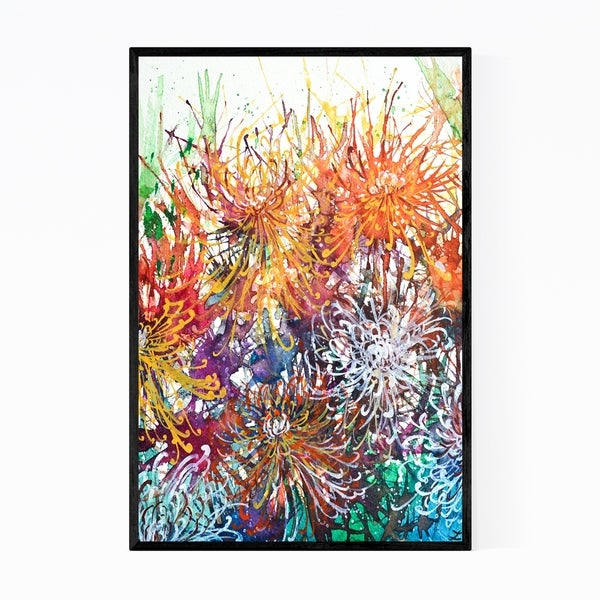 Noir Gallery Chrysanthemum Floral Painting Framed Art Print