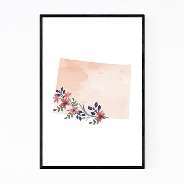 Noir Gallery Colorado Floral State Map Framed Art Print