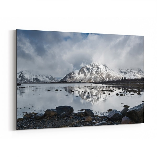 Noir Gallery Norway Winter Mountains Nature Photo Canvas Wall Art Print