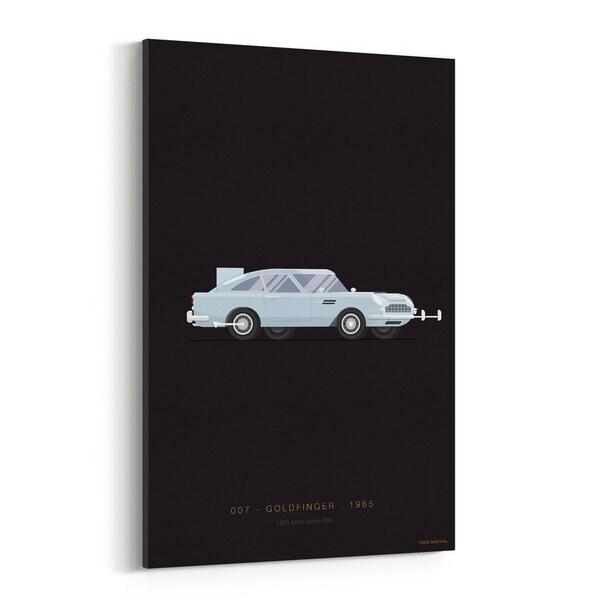 Noir Gallery Aston Martin Goldfinger Illustration Canvas Wall Art Print