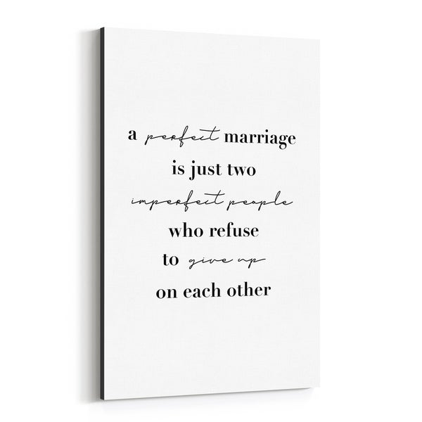 Noir Gallery Marriage Motivational Typography Canvas Wall Art Print