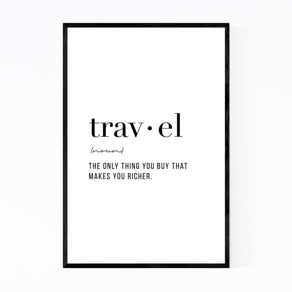 Noir Gallery Travel Definition Typography Framed Art Print