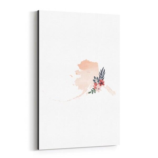 Noir Gallery Alaska Floral State Map Canvas Wall Art Print