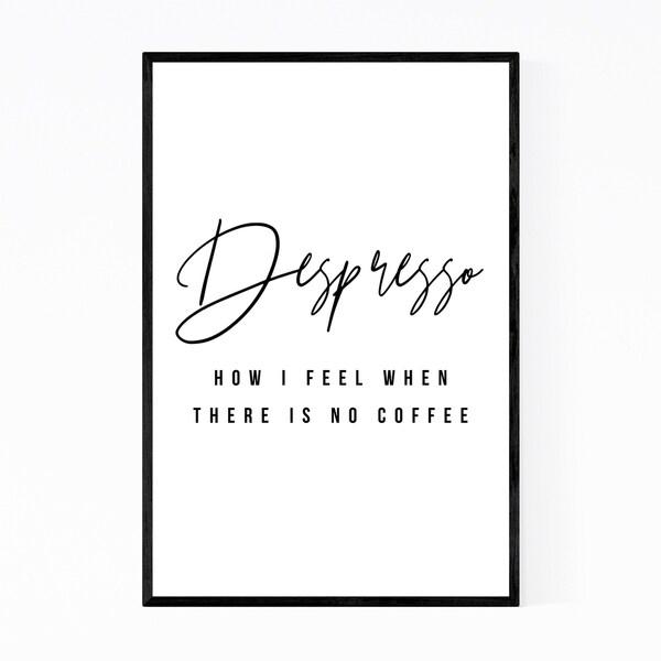 Noir Gallery Coffee Kitchen Minimal Typography Framed Art Print