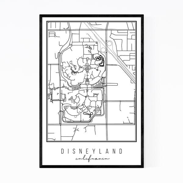 Noir Gallery Disneyland California City Map Framed Art Print