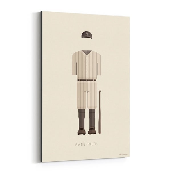 Noir Gallery Babe Ruth Baseball Illustration Canvas Wall Art Print