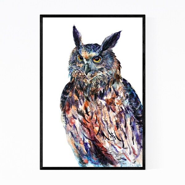 Noir Gallery Animal Birds Eagle Owl Painting Framed Art Print