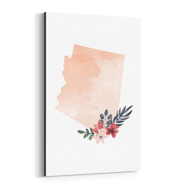 Noir Gallery Arizona Floral State Map Canvas Wall Art Print